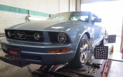 Late Model Ford Mustang in for Eibach Sport Coilsprings and F/R Sway-bar Kit