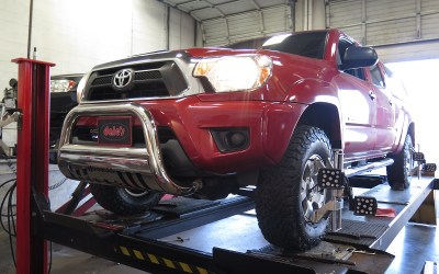 Toyota Tacoma in for Bilstein 5100 Leveling Struts/Shocks and Lower Control Arm Bushings at Dales Auto Service