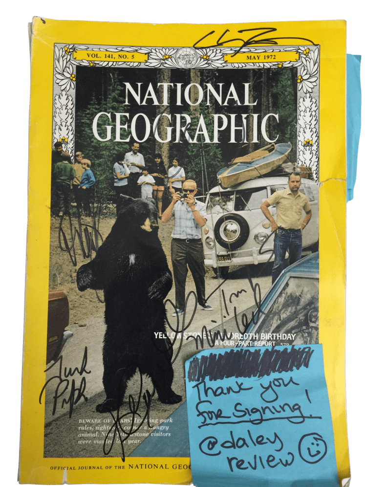 Our copy of the May 1972 National Geographic with several cast and crew autographs as of October 7, 2015