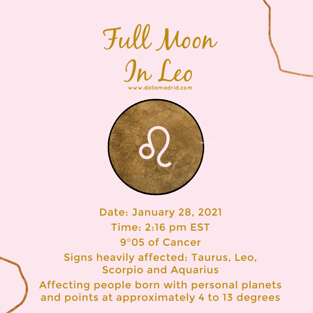 Full Moon in Leo at 9°05' at 2:16 pm on January 28, 2021