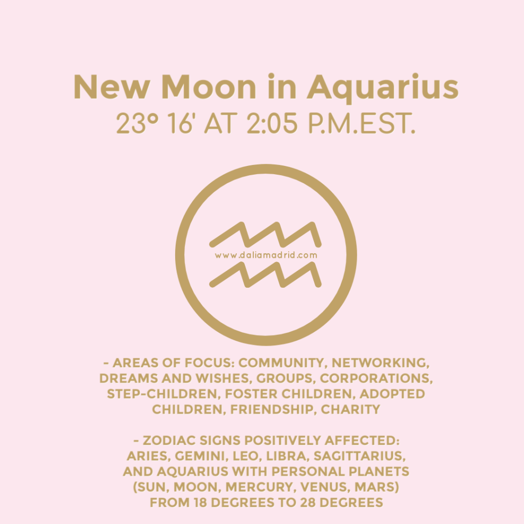 New Moon in Aquarius on February 11, 2021 at 23°16' at 2:05 pm (est.)