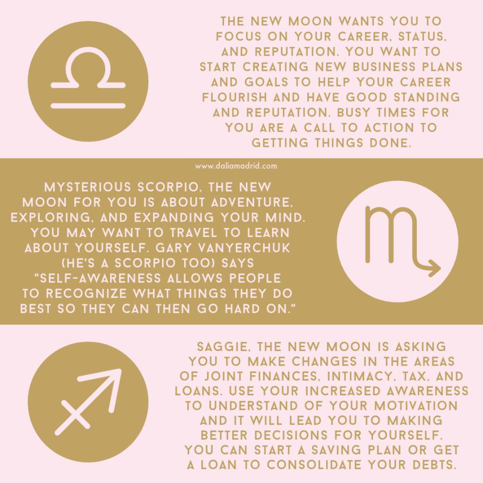 New Moon Horoscopes for Libra, Scorpio, and Sagittarius