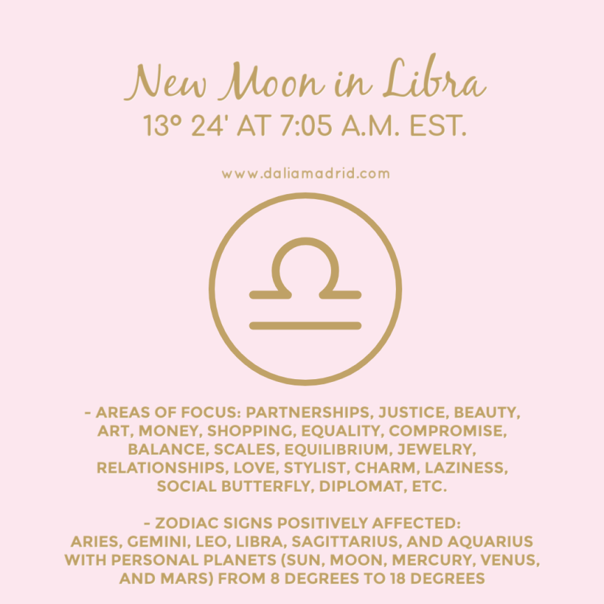 New Moon in Libra on October 6, 2021 at 13°24′ at 7:05 a.m. eastern time