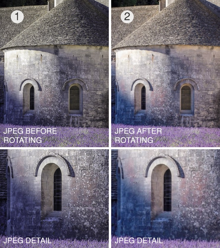I was shocked about how significant impact image rotation has on quality of a JPEG image