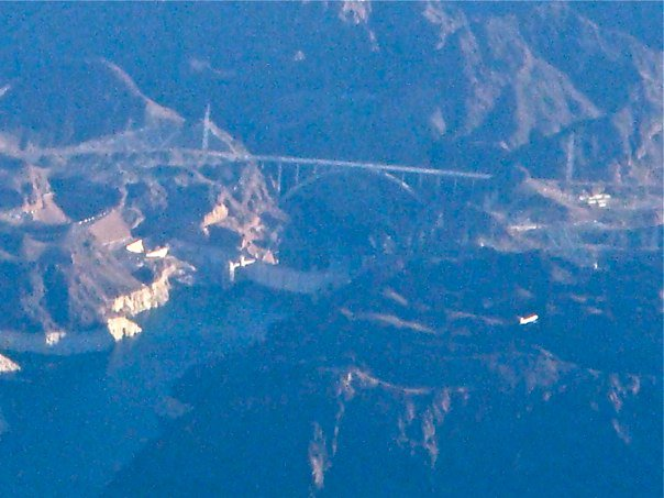 Hoover Dam and the under construction by-pass bridge