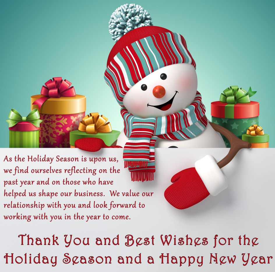 Thank You & Best Wishes for the Holiday Season
