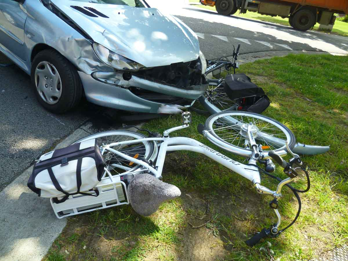 Bicycles struck by a car. Bicycle accident attorney