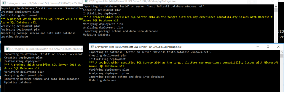 Azure SQLPackage Import SQL Server