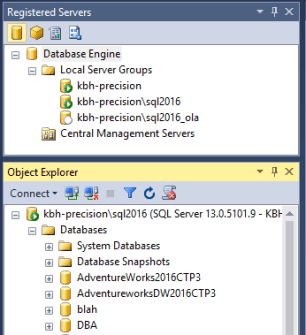 registered server window in SSMS