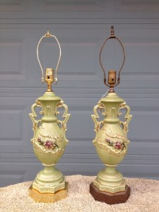 Before and after update on kitchy end table lamps