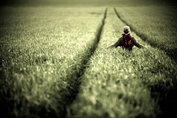 Man walking through field