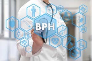 doctor writing bph along with icons of symptoms around the condition