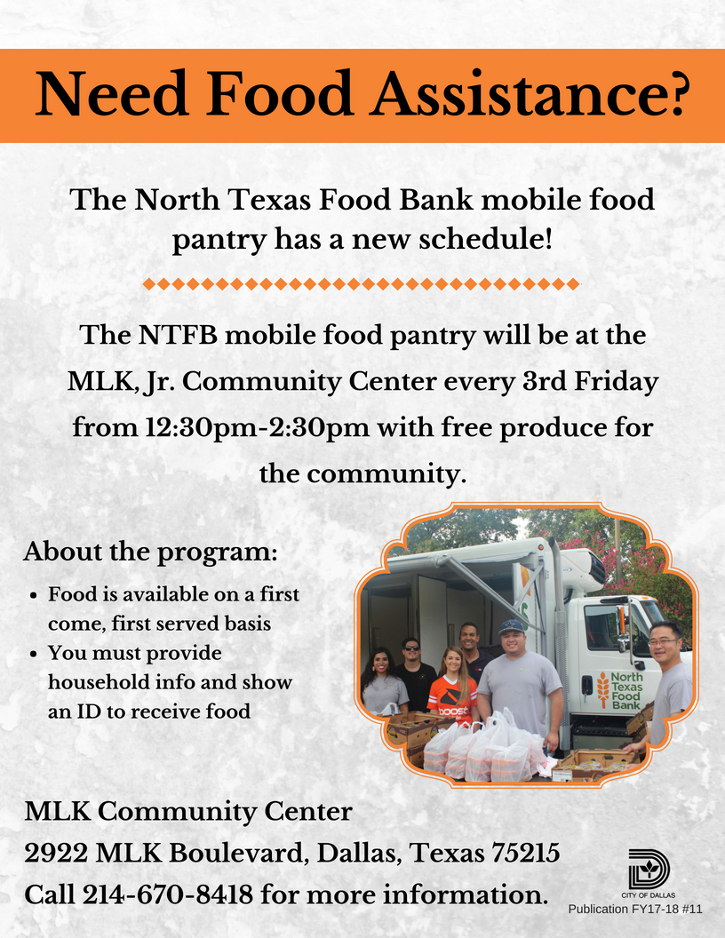 North Texas Food Bank Mobile Food Pantry - The Martin Luther King ...