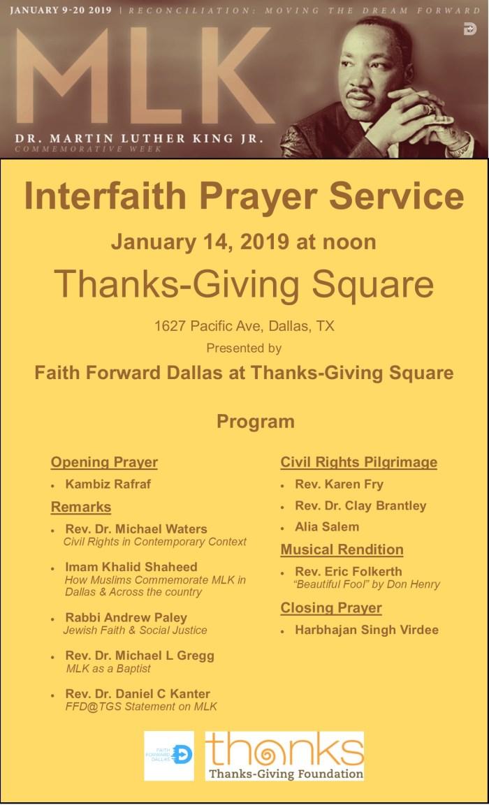Interfaith Prayer Service at Thanks-giving Square