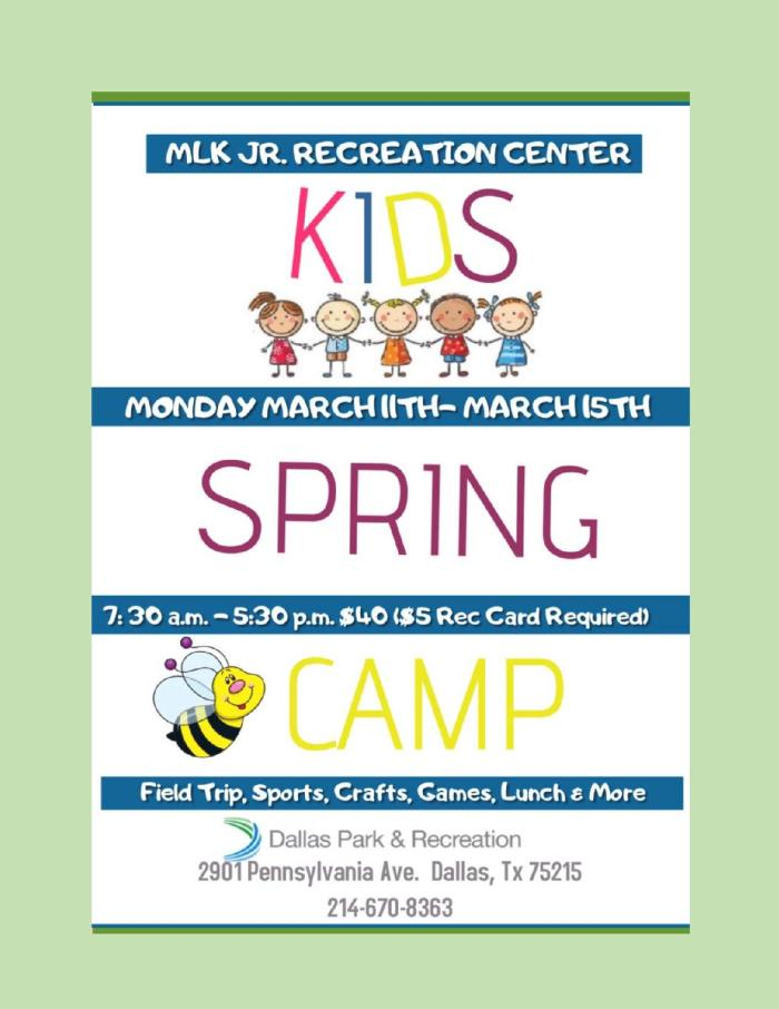 Kids Spring Camp (MLK Recreation Center) @ MLK, Jr. Recreation Center