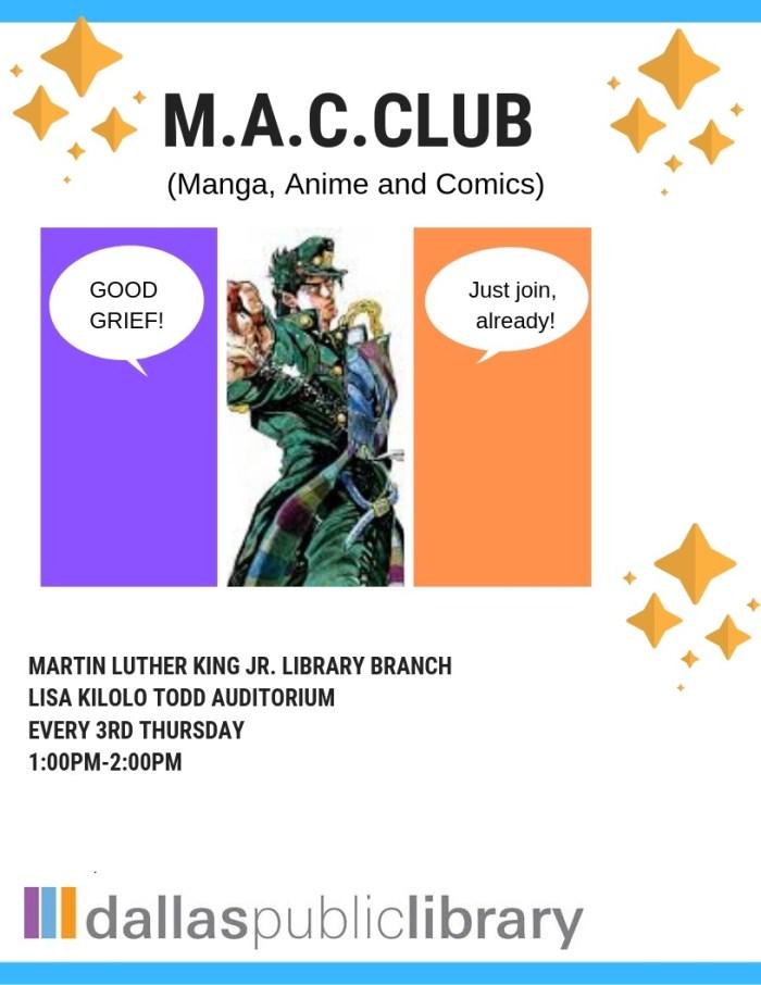 M.A.C. Club (Manga, Anime, & Comics) @ MLK Branch Library