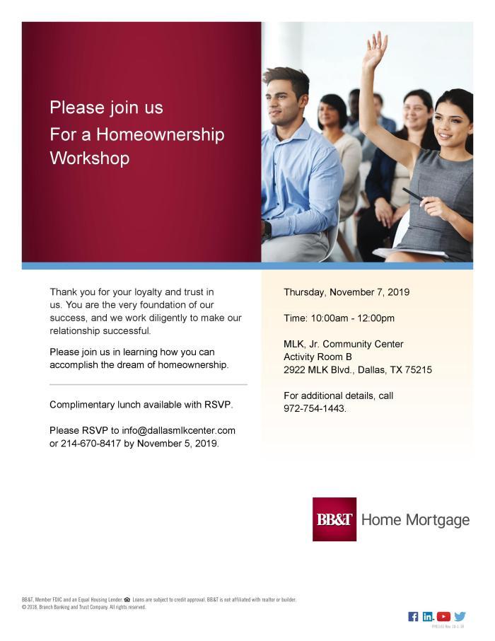 BB&T Homeownership Workshop @ MLK, Jr. Community Center (Bldg. A, Activity Room B)