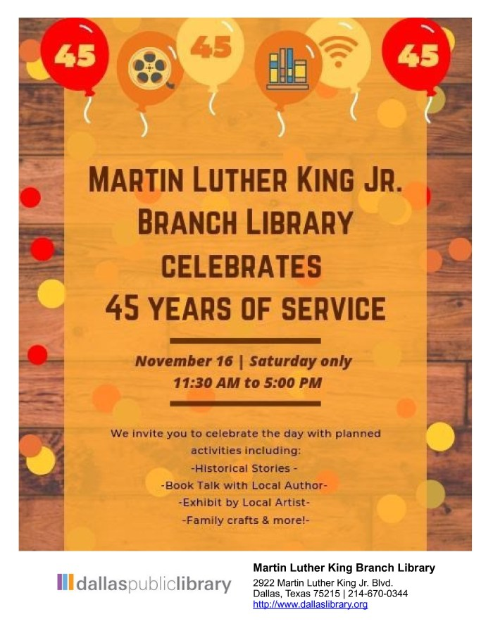 MLK Branch Library Celebrates 45 Years of Service @ MLK Branch Library