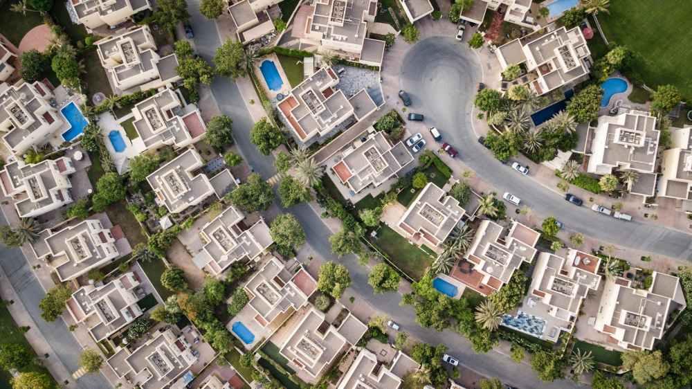 aerial view of buildigns