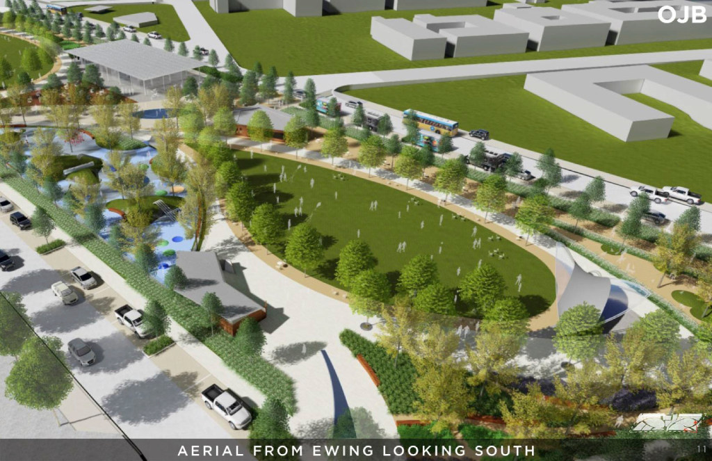 An aerial view from Ewing looking south, in a rendering from a Conceptual Plan for the Southern Gateway Public Green, a deck park over I-35E from S. Marsalis Avenue to S. Ewing Avenue, adjacent to the Dallas Zoo.(City of Dallas)