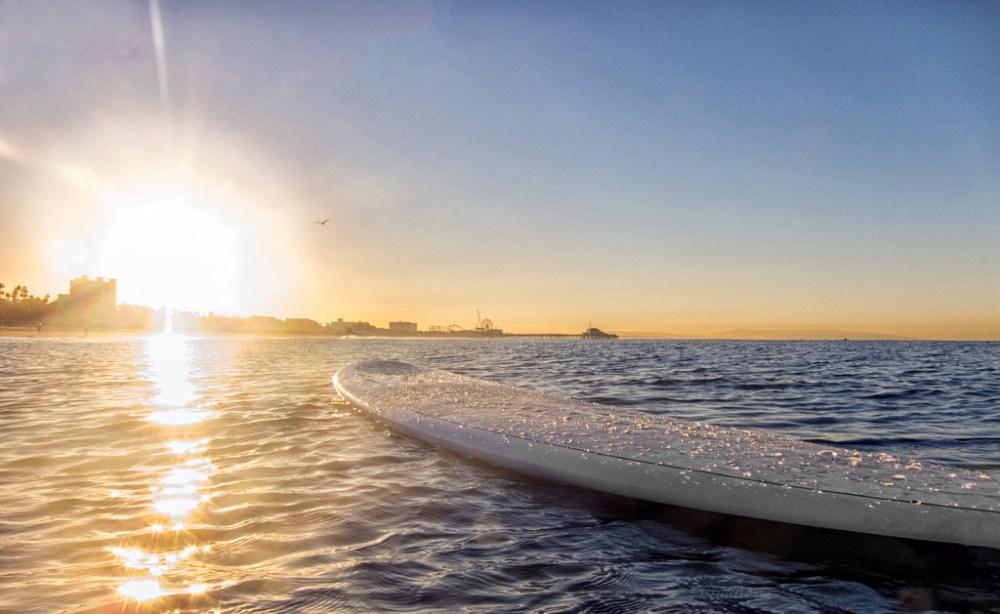 A surfboard on the water in Santa Monica, Calif.(Lloyd Raboff/Santa Monica CVB)