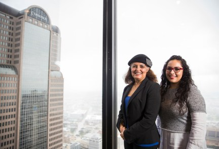 Dallas-Area Interfaith organizer Socorro Perales (left) and Lily Rodriguez on Thursday, Nov. 8, 2018, at Thanksgiving Tower in Dallas.(Ashley Landis/Staff Photographer)
