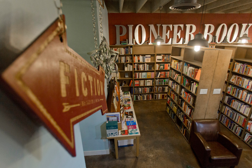 Pioneer Book in downtown Provo, Utah, fills its two-level shop with used, signed and rare books. A room upstairs showcases local art and hosts folk music jams.(Evan Cobb/The Washington Post)