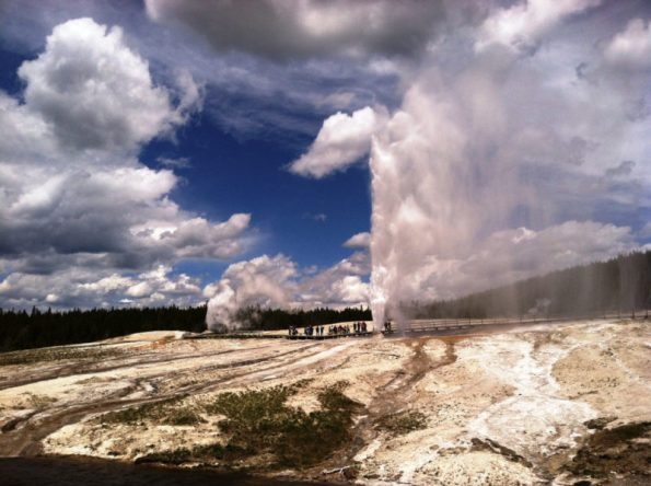 Photo from the National Park Service: Beehive and Lion geysers erupting simultaneously at Yellowstone National Park Rich Jehle; June 6, 2014;