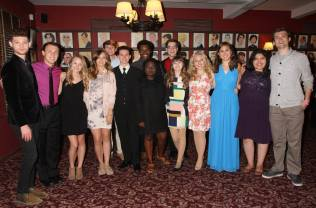John Fredrickson (center) with other NHSMTA nominees at Sardi's before heading to ON YOUR FEET! Photo by Henry McGee.