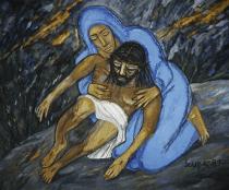 Francis-Newton-Souza-Untitled-The-Pieta-1987-acrilico-su-tela