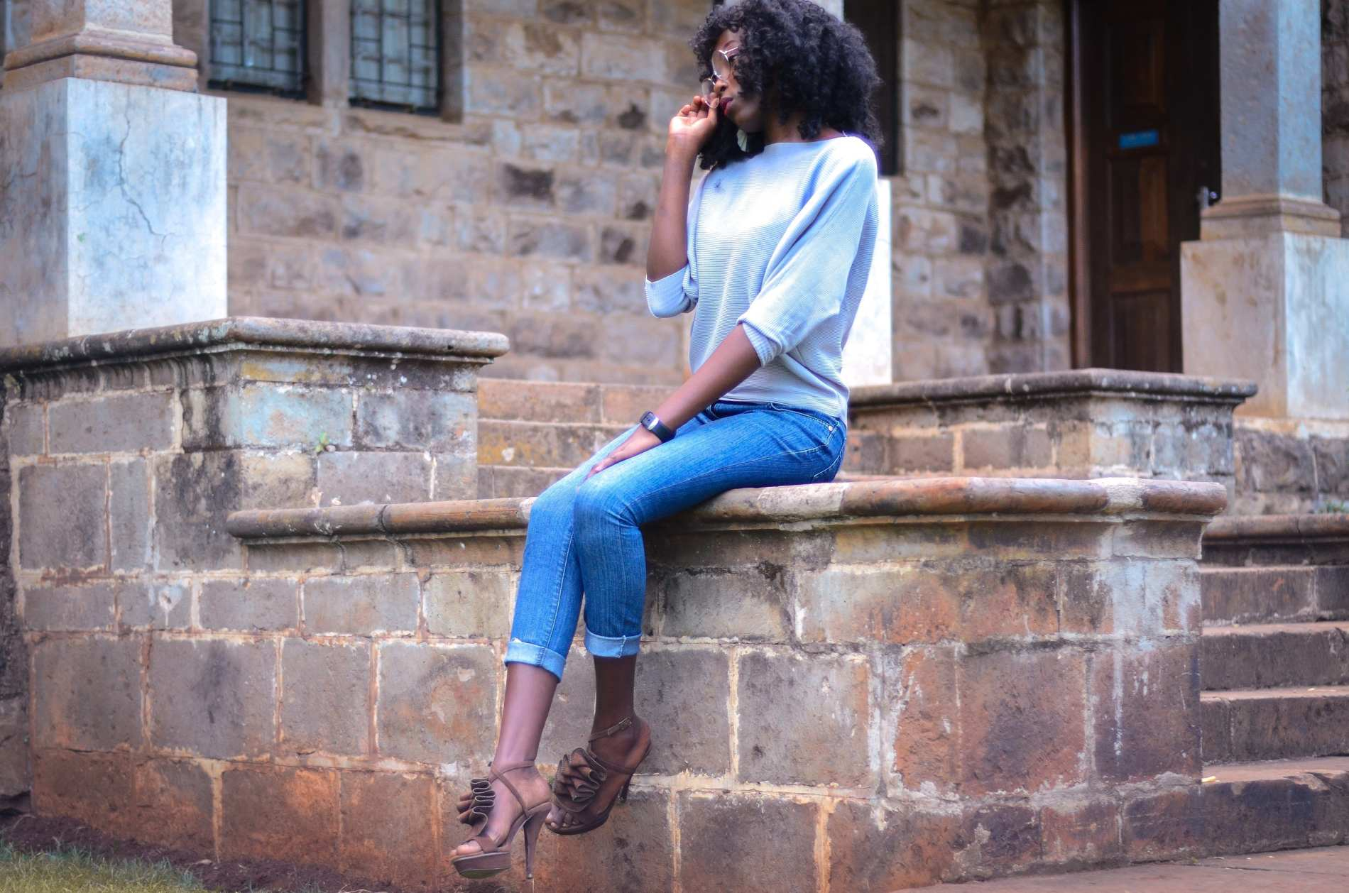 A Super Stylish Duo- High Heels With Jeans