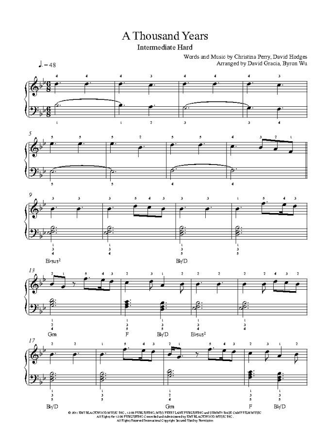 Exelent A Thousand Years Chords Piano Sheet Elaboration - Basic ...