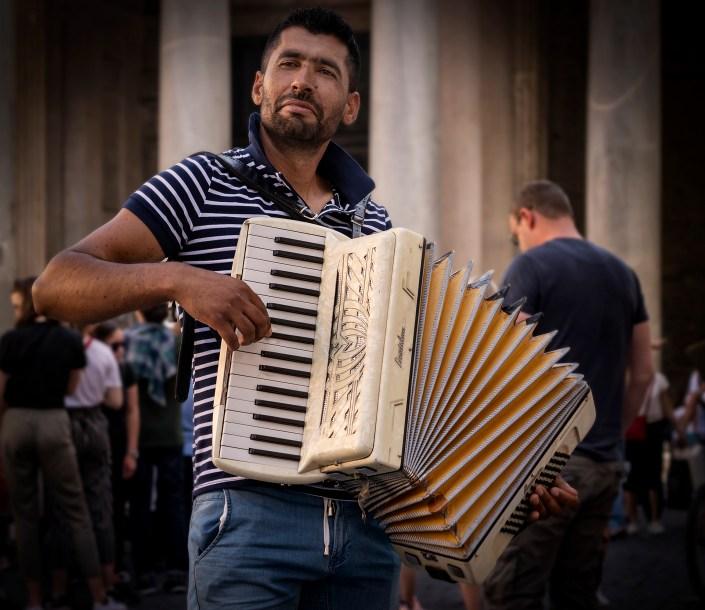 Street accordion player, Rome