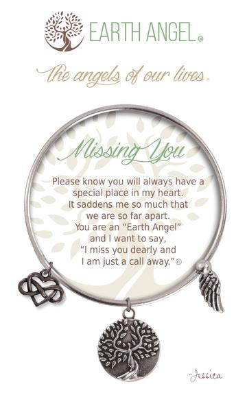 "Earth Angels Charm Bracelet ""Missing You"" Antique Silver"