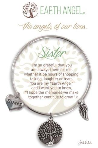 "Earth Angel Charm Bracelet ""Sister"" Silver"