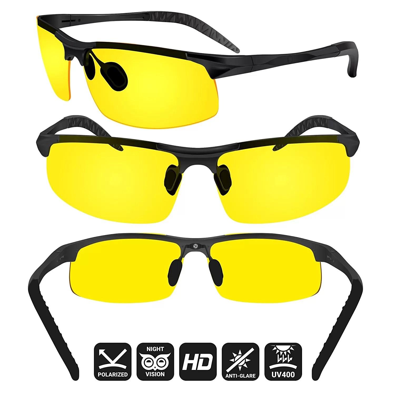 Unbreakable Day /& Night Driving Glasses UV400 Polarized Anti Glare Green Yellow