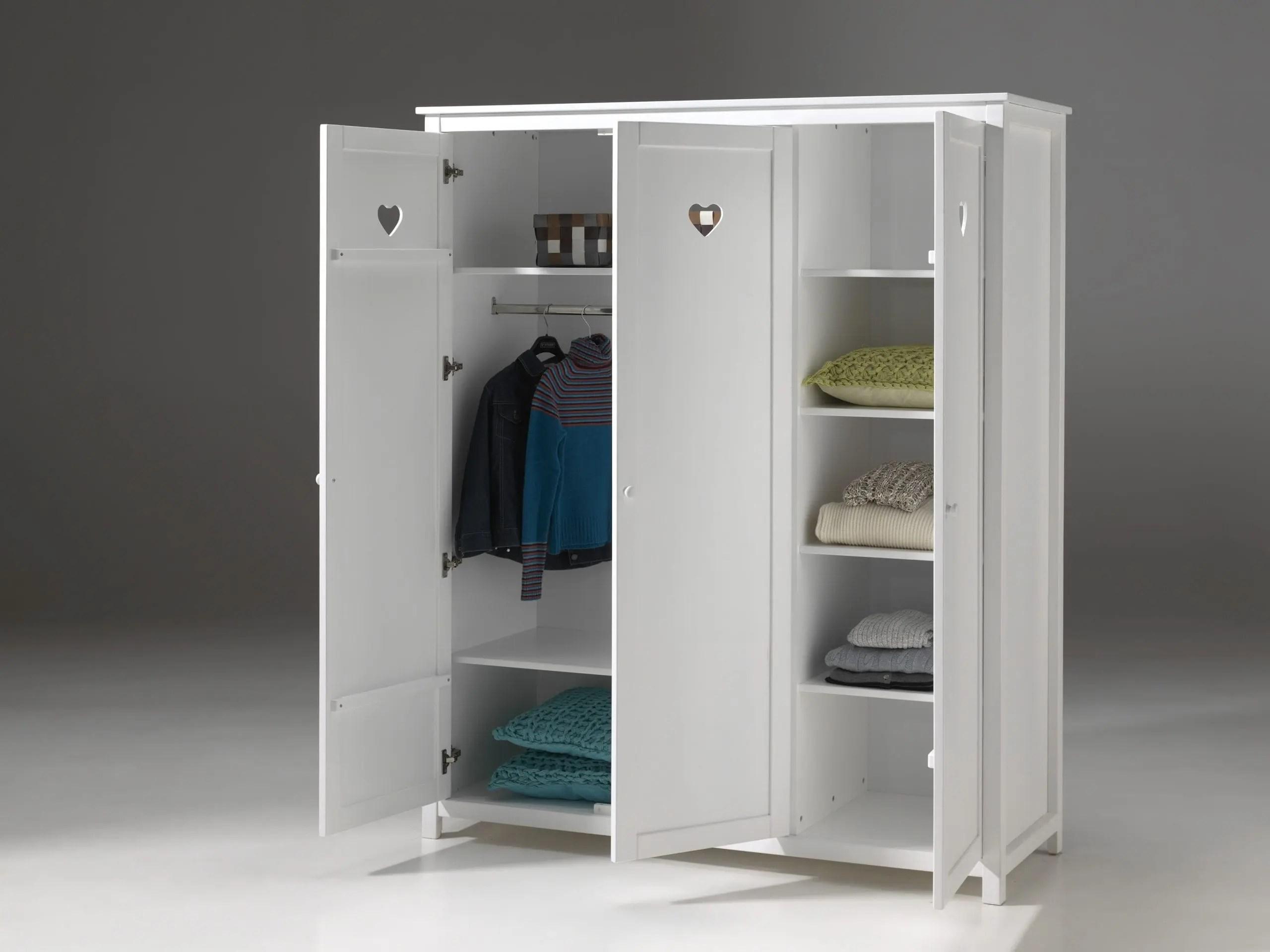 armoire lovely pour chambre fille 3 portes blanc laque