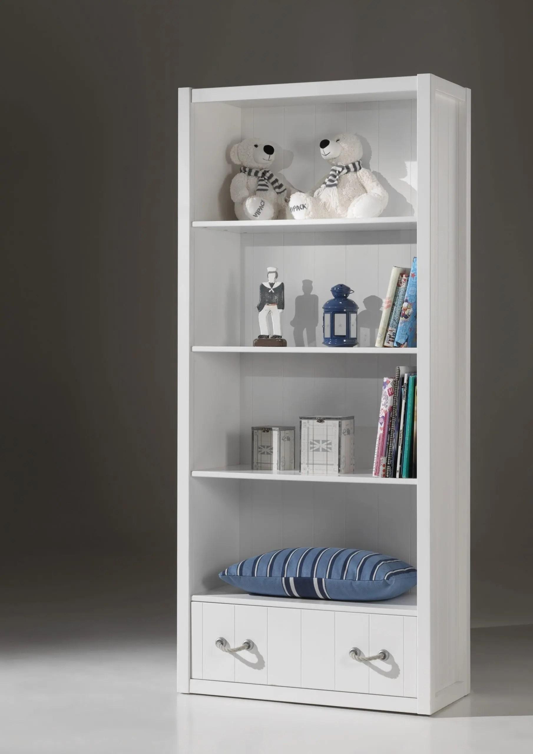 bibliotheque levi pour enfant avec tiroir en blanc laque