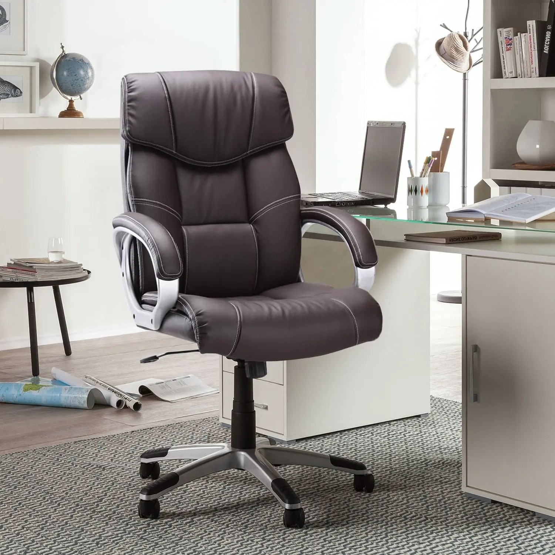 chaise de bureau coloris brun dossier haut reglable rembourre