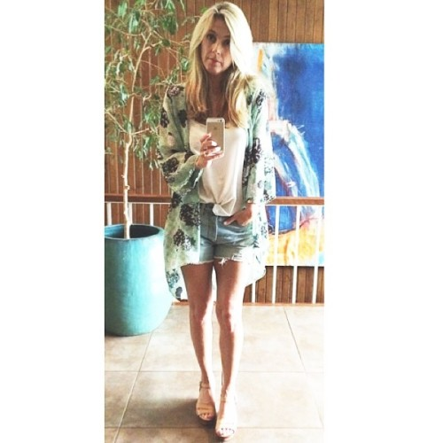 "Distressed ""boyfriend"" jean shorts, silk cami top, & silky flowing kimono"