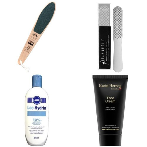 Clockwise from top right: Diamoncel Foot File, Karin Herzog Oxygen Foot Cream, Lac Hydrin & Body Shop Foot File