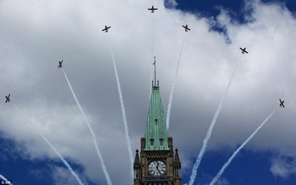 The Snowbirds over The Peace Tower, Parliament, Ottawa. Always my favourite part!