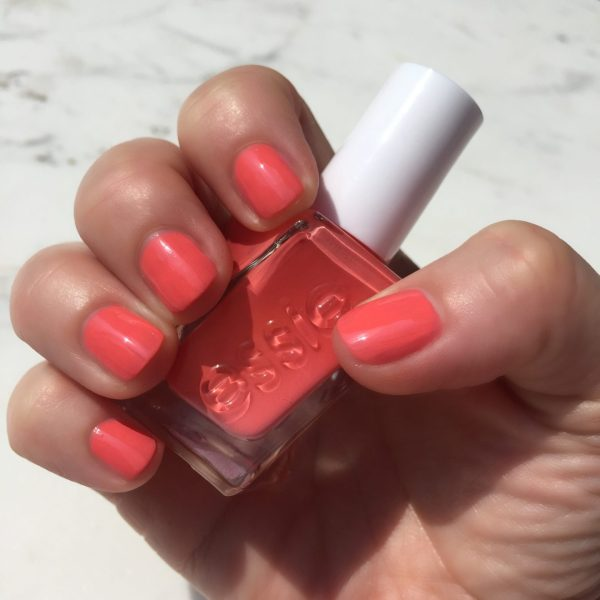"Essie Gel Couture ""on the list"" is the perfect orange-y coral shade and it makes me happy to look at it!"