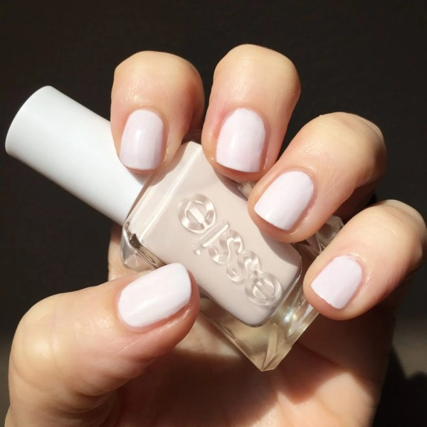 """Essie Gel Couture """"pre-show jitters"""" is the perfect soft milky pink-white. Honestly I could not stop staring at my hands. This is going to be in constant rotation."""