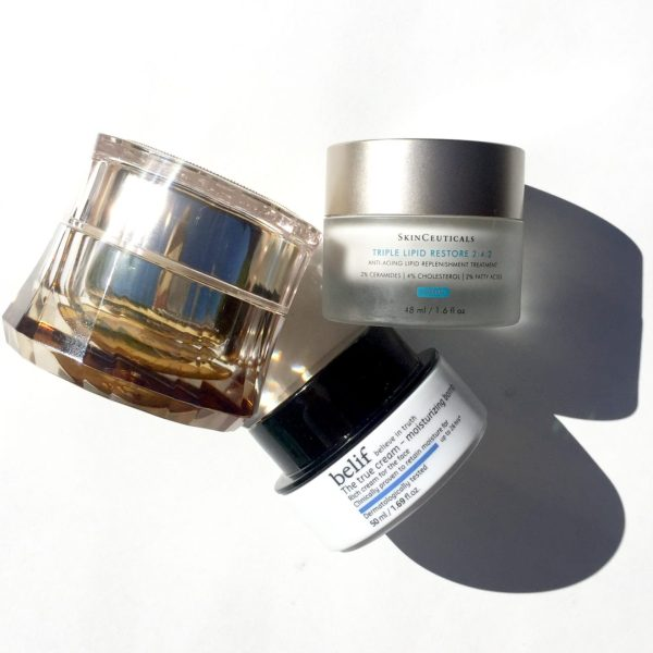 from top right: Skinceuticals Triple Lipid Repair, Belife The Moisturizing Bomb, The Face Shop Hwansaenggo Escargot Golden Firming Cream