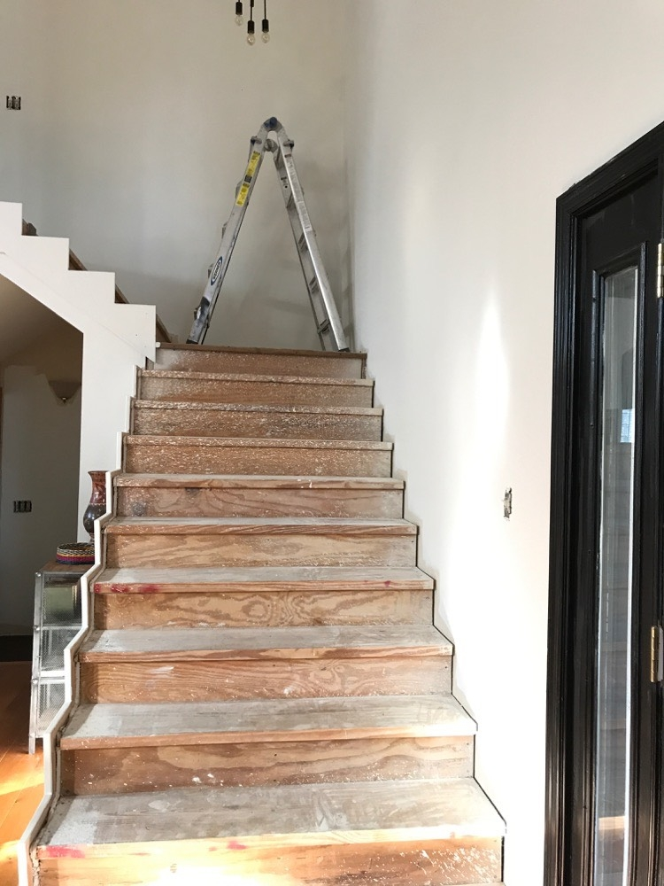 Staircase Renovation Project Intro And What Tile Has To Do With   Wood And Tile Stairs   Rocell Living Room   Tile Floor   Basement   Quarter Round Stair Hardwood   White