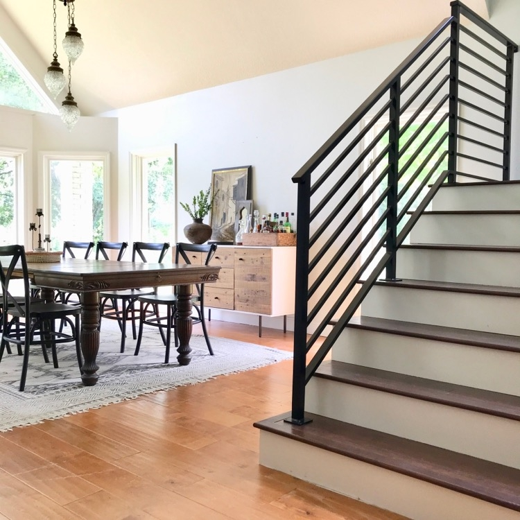Our Finished Staircase With Horizontal Stair Railing Daly Digs   Black Iron Stair Railing   Industrial   Iron Baluster   Rectangular Iron   Horizontal   Contemporary