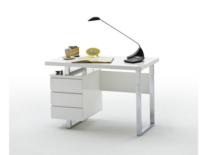 bureau coloris laque blanc brillant avec pietement metal chrome l115 x h76 x p60 cm pegane