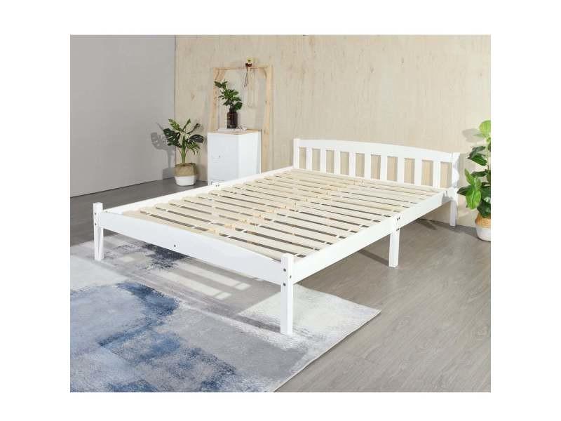 structure de lit double en bois 140 x 190 cm blanc style scandinave