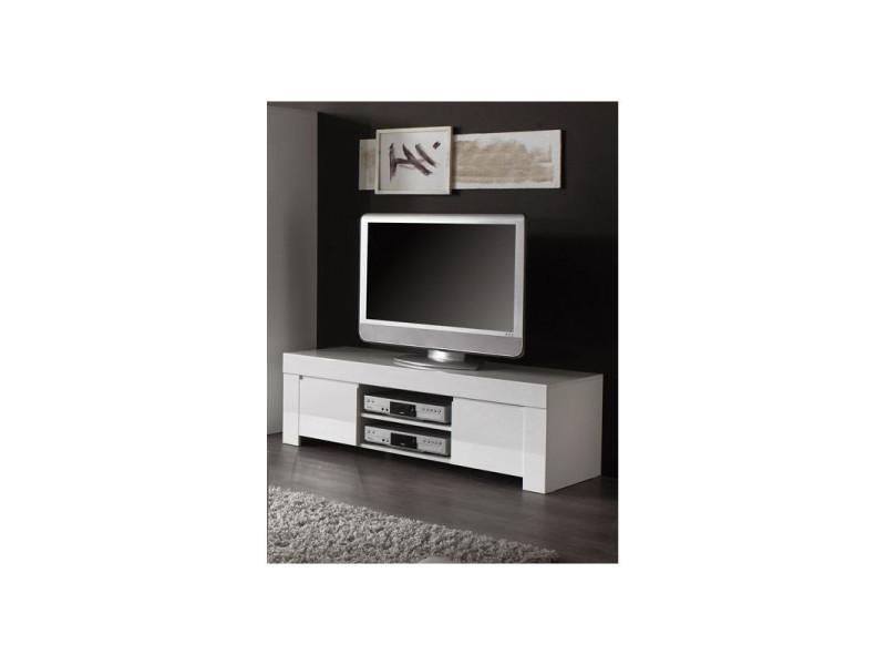 meuble tv design laque blanc twist coloris dimensions l 140 cm